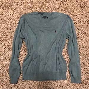 FREE* Polo Sweater light blue green muted color
